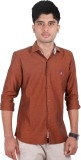 West Flax Men's Solid Casual Brown Shirt
