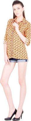 Crosstitch Women's Printed Party Orange Shirt