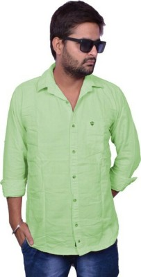 Lee Mark Men's Solid Casual Green Shirt