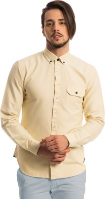 Specimen Men's Solid Casual Yellow Shirt