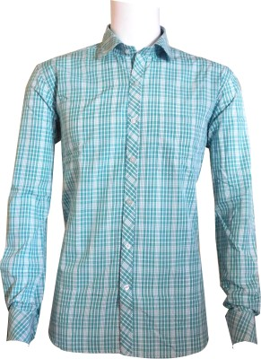 Ardeur Men's Checkered Casual Green Shirt