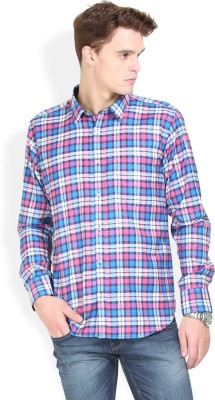 Orange Valley Men's Checkered Casual Pink Shirt