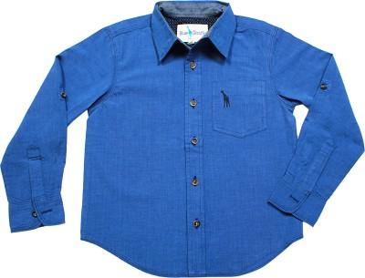 Blue Giraffe Boy's Solid Casual Blue Shirt