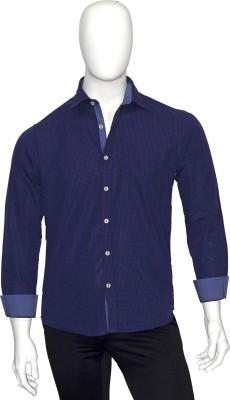 Cotton Natural Men's Checkered Casual Dark Blue, Pink Shirt