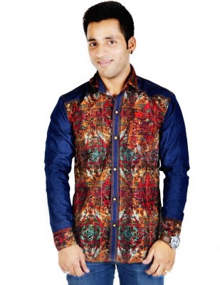 Hd Rascals Men's Printed Casual Red Shirt