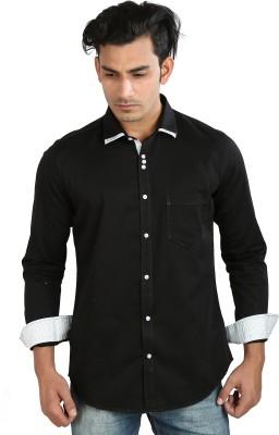 Faceman Men's Solid Casual, Festive, Lounge Wear, Party Black Shirt