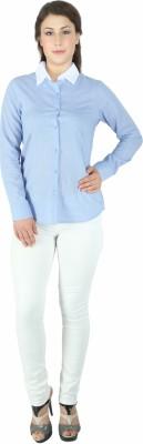 Fashion Wardrobe Women's Polka Print Casual Light Blue Shirt