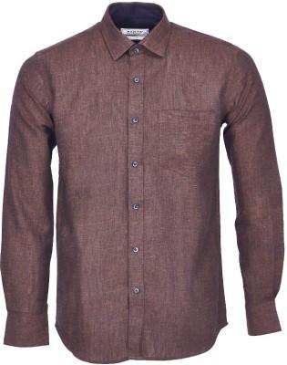 Nanya Men's Solid Casual Linen Brown Shirt