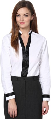 Dazzio Womens Solid Formal White, Black Shirt
