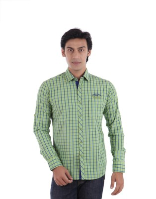 Drake Mens Checkered Casual Green Shirt