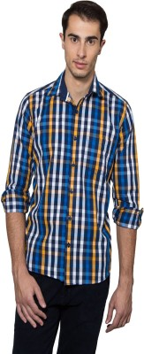 Lee Marc Men's Checkered Casual Orange, Blue Shirt