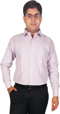 Kuons Avenue Men's Checkered Formal Purple Shirt
