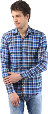 Orizzonti Men's Checkered Casual Light Blue Shirt