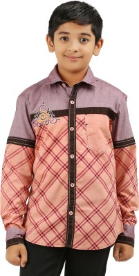 Cub Kids Boy's Printed Casual Maroon, Beige Shirt