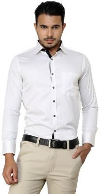 American Cult Men's Printed Formal Reversible White Shirt