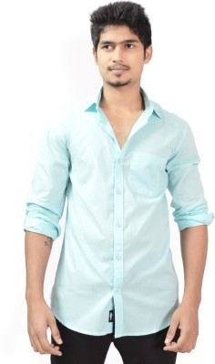 Hueman Men's Solid Casual Light Blue Shirt