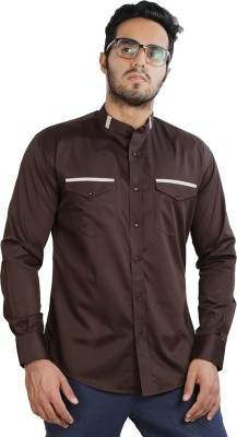 Just Differ Men's Solid Casual Brown, Beige Shirt