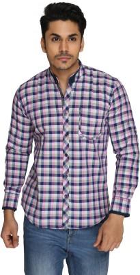 GoPlay Men's Checkered Casual Pink Shirt