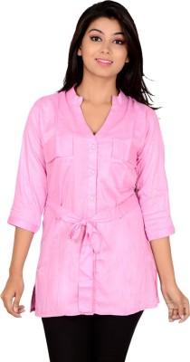Jazzy Ben Women's Solid Casual Pink Shirt