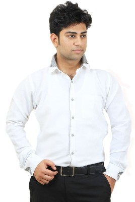 SIERA Men's Solid Casual White Shirt