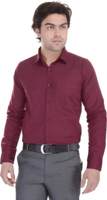 Lee Mark Men's Solid Formal Maroon Shirt