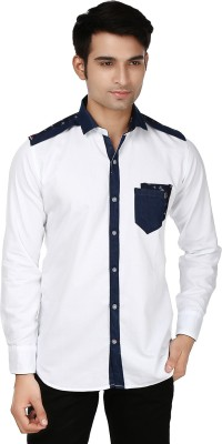 Flakes Fashion Men's Solid Casual White, Blue Shirt