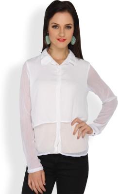 Ten on Ten Women's Solid Casual White Shirt