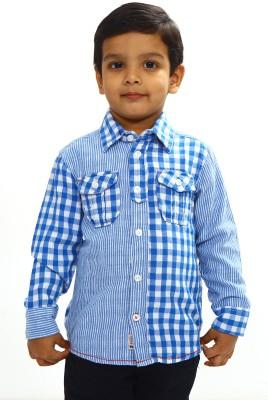 Bio Kid Boy's Checkered Casual Light Blue Shirt