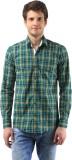 Orizzonti Men's Checkered Casual Green S...