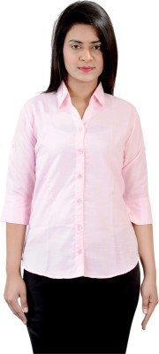 Jazzy Ben Women,s Solid Formal Pink Shirt