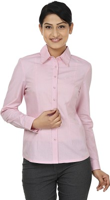 Wills Lifestyle Women's Solid Formal Pink Shirt