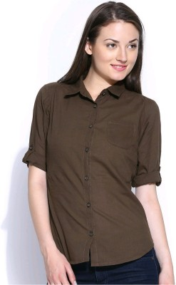 U&F Womens Solid Formal Brown Shirt