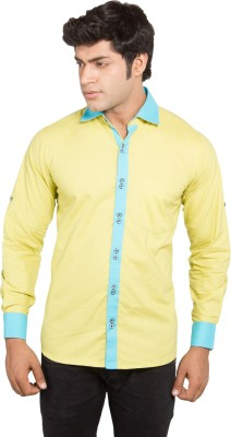 Nauhwar Men's Self Design Casual Yellow Shirt