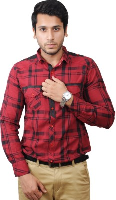 Flakes Fashion Men's Checkered Casual Red Shirt