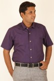 Ignu Men's Solid Casual Purple Shirt