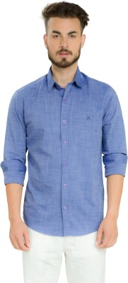 Club X Men's Self Design Formal, Casual Purple Shirt