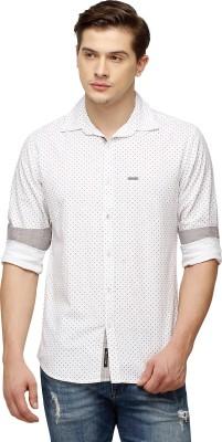 Cross Creek Men's Printed Casual White Shirt