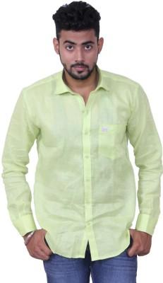Austrich Men's Solid Casual Linen Green Shirt