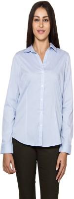 Lee Marc Women's Solid Casual Light Blue Shirt