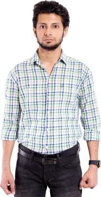 Chaman Handicrafts Men's Checkered Casual White Shirt