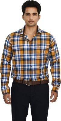 Hackensack Men's Checkered Casual Orange Shirt