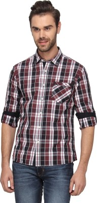 T-Base Men's Checkered Casual Red Shirt
