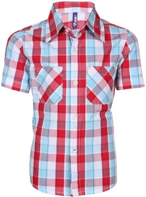 Tickles By Inmark Boy's Checkered Casual Red Shirt