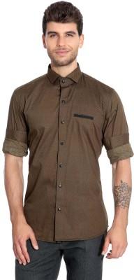 Estycal Men,s Printed Casual Brown Shirt