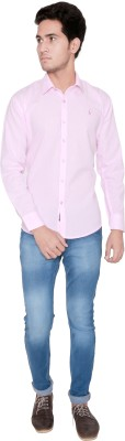 Shreebalajitraders Men's Solid Casual Pink Shirt