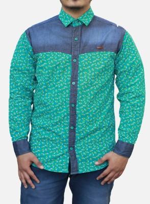 Yzade Men's Printed Casual Light Green Shirt