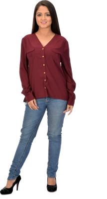 Instinct Women's Solid Casual Maroon Shirt