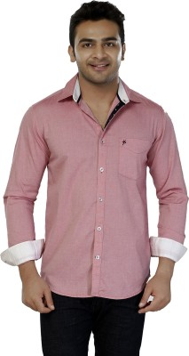 Jazzup Men's Solid Casual Pink Shirt