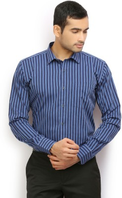 Odin Men's Striped Casual Dark Blue, Blue Shirt