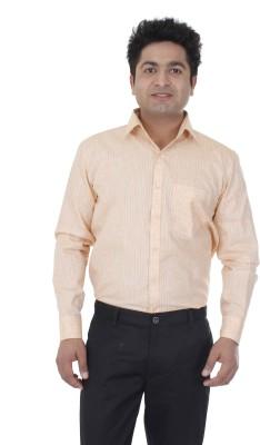 Aces Blue Men's Striped Formal Orange Shirt